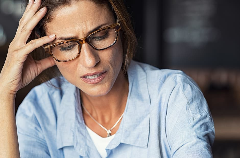 Stressed lady over 40